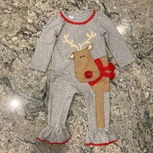 Mud Pie Reindeer Christmas Onesie Pajamas 6-9 mo